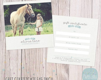 Photography Gift Certificate - Photoshop template - VG006 - INSTANT DOWNLOAD