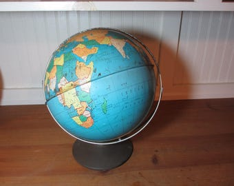 Vintage Metal 10 Inch Ohio Art Globe, On 2 Axes, Home Decor, Staging, Collectible, See Description