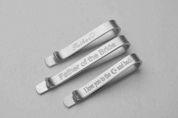 Aluminum Tie Bar - Tie Clip - Mens Engraved Tie Bar Clip - Hidden Message - Lightweight