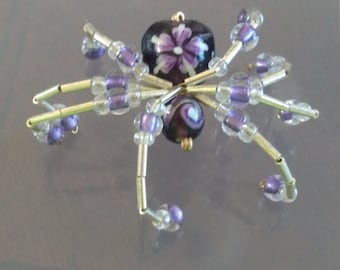 Beautiful purple flower beaded spider