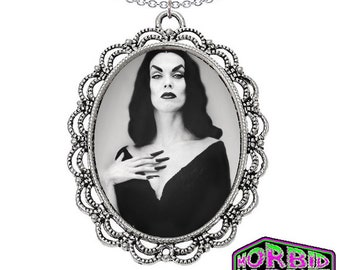 Vampira Maila Nurmi Large Cameo Pendant Silver Chain Horror Necklace *Multi Colour Options*