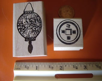 Asian paper lantern & coin  rubber stamp wood mounted scrapbooking rubber stamping