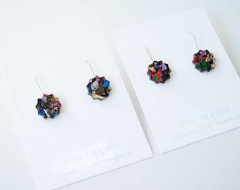Fallen star small dangle / drop earrings   Kaleidoscope glitter   Laser cut acrylic   Handmade
