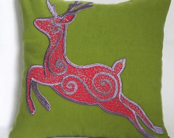 Bear pillow. Rain dear festive  pillow cover olive green and red  throw   pillow 18 inch  in stock sale  30 % discount