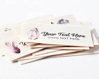 Watercolor Crystal Labels, Personalized Custom Labels with Your Text on 100% Organic Cotton