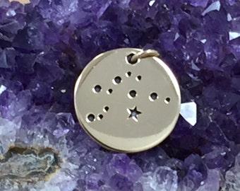 Zodiac Charm, Aquarius Charm, Zodiac Constellation Charm, Natural Bronze Charm, Necklace Charm, Necklace Pendant