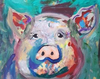 11 x 14 Colorful Pig Print