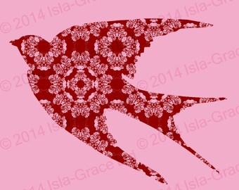 Pink Bird Design blank greeting card