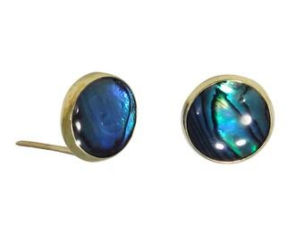 14K Gold Jewelry, Gold Earrings, Blue Earrings, Blue Stud Earrings, Seashell Stud Earrings, Gold Earrings, Stud Earrings, 14k Gold Earrings