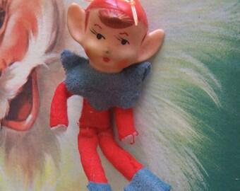 tiny vintage elf boy ornament