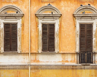 "Rome Print, Italy Photography, Large Wall Art, Roman Architecture, Old Windows Shutters Photo, Rustic Italian Home Decor ""Finestra"""
