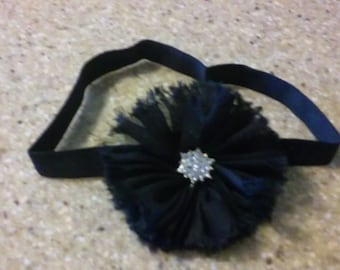 Black Elastic Headband Black Flower Baby Headband Rhinestone Headband