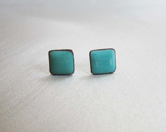 Robin's Egg Blue Enamel Mini Square Stud Post Earrings, Kiln-fired Glass Enamel and Sterling Silver, 7mm Square Post Stud Earrings