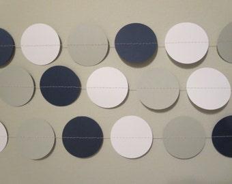 Navy Blue Gray White Ombre Paper Garland Backdrop Party Decor Bachelorette Photo Prop Backdrop
