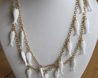 PISCES PLASTIC  FISH Necklace 40 Inches Long