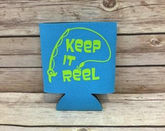 Keep it Reel Fishing Funny Can Cooler Beverage Holder Drink Hugger Blue Lime Green