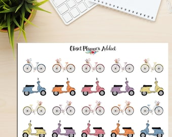 Vespas and Bicycles Planner Stickers (S-151)