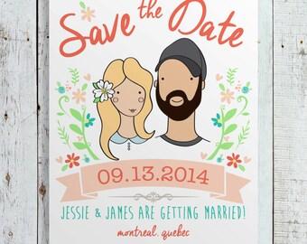 Custom Wedding Save the Date Portrait