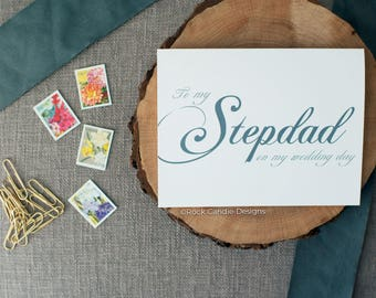 To My Stepdad On My Wedding Day Card | Thank You Stationery For Step Dad From Step Daughter | Card to Stepfather | Thank you Step father