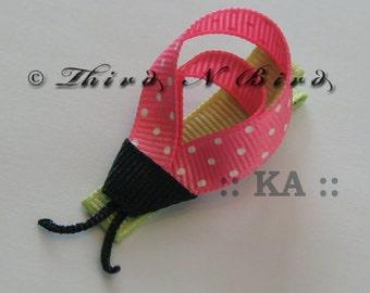 LadyBug Hair Clip Ribbon Sculpture Instructions