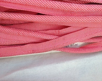 vintage, piping, trimmings, rayon, pink coral 6 mm diam.
