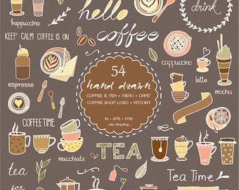 54 Hand Drawn Coffee & Tea Digital Clipart - Coffee Shop Logo - Tea Cup - Cafe' - Banners - Coffee Menu - Chalkboard - Vector -Kitchen-A Cup