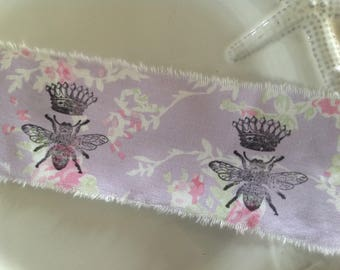 French  Queen Bee on Lavender Floral  - French inspired  -    Hand stamped ribbon  - Hand stamped trim 1 Yard   (0306)