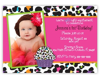 Colorful Leopard With or Without Cupcake Birthday Photo Card Invitation (You Print)