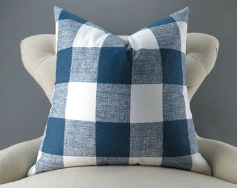 Navy Plaid Pillow Cover -MANY SIZES- Large Check Pattern, Gingham Print, Euro Sham, Lumbar, Decorative Throw, Anderson Navy Premier Prints