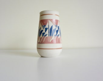 Colorful Tall Pastel Glazed White Clay / Pottery / Ceramic Vase / Vessel / Cylinder - Artist Signed
