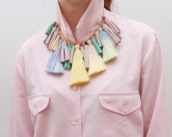 LOVE/ Pastel tassel necklace