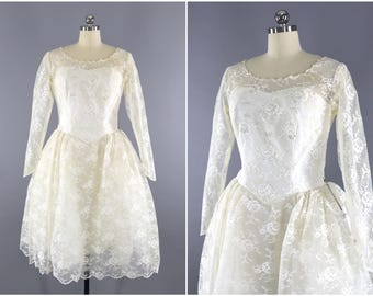 Vintage 1950s Wedding Dress / 50s Lace Wedding Gown / 1950 Bridal Gown / Tea Length Dress / Off White Ivory Beaded Sequined Dress