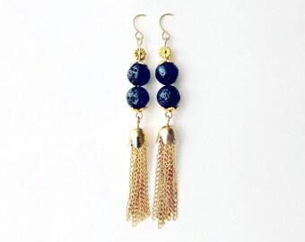 Gold Tassel Earrings, Long Chain Earrings, Black and Gold Earrings, Shoulder Duster Earrings, Statement Earrings, Black Lava Beads