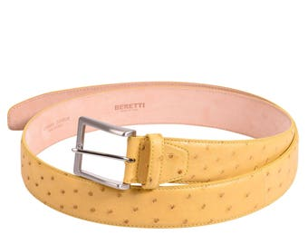 Ostrich leather belt Yelow by Beretti.