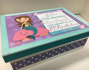 1st Birthday Mermaid Time Capusule Keepsake Box