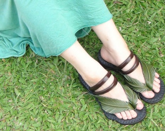 Handmade Leather Sandals Women and Men***Palm Tree design***