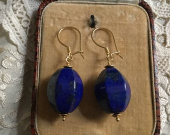 Exceptional LAPIS STERLING VERMEIL Earrings - Natural stone lapis - Gold & sterling silver - Beautiful Design Vintage - from France