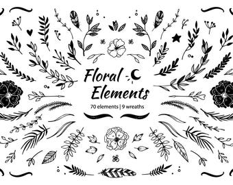 Hand drawn illustrations in sketch style. Clipart of floral elements. Floral wedding clip art. Illustrations and wreaths