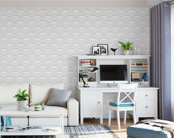 Black and white geometric removable wallpaper / cute self adhesive wallpaper / modern temporary wallpaper G165-27