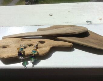 Glass bead earrings on sterling silver hooks