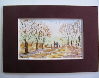 Lover's Lane, Art Cards, Editions & Collectables, Watercolour, Country Lanes, Walkers, Countryside.