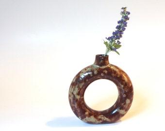 Funky Wheel Thrown Ceramic Donut Vase Jug