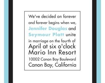 Wedding Invitation - Blue and White Stripes