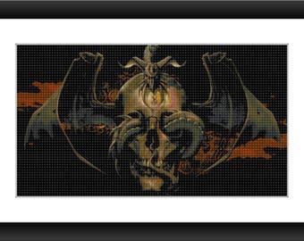 Skull Cross Stitch Pattern - Skull, Snake - Cross Stitch Pattern - PDF Download
