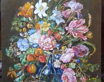 Painting Flowers in a glass vase