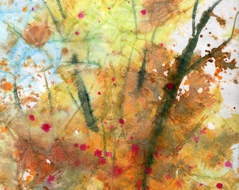Batik Style/New England Fall-Scape No.25, limited edition of 50 fine art girl prints form my original watercolor