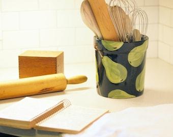 Kitchen Utensil Holder Extra Large Utensil Holder Pear Utensil Crock Pottery Canister Kitchen Storage Gift for Gourmet Chef Gift Baker Gift