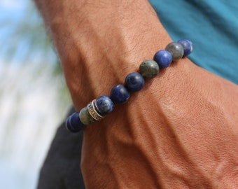 Jewelry Crystal healing, men, mens bracelet, natural stone jewelry, sodalite, labradorite, Protection and healing