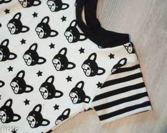 Frenchie Romper, Harem Romper, Monochrome, Summer Romper, French Bulldog, Baby Rompers, Clothes with dogs, Baby Clothes, Little Pickle