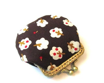 Apple tree frame coin pouch brown cotton fabric bronze kiss lock clasp brown frame purse metal change purse